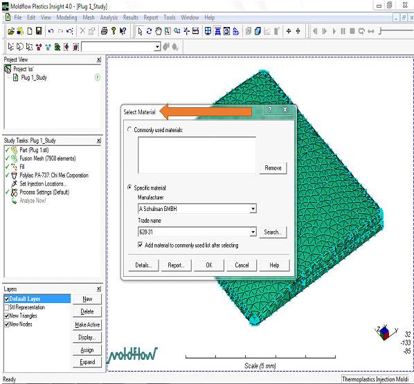 آموزش نرم افزار Mold Flow - انتخاب مواد-بخش دوم