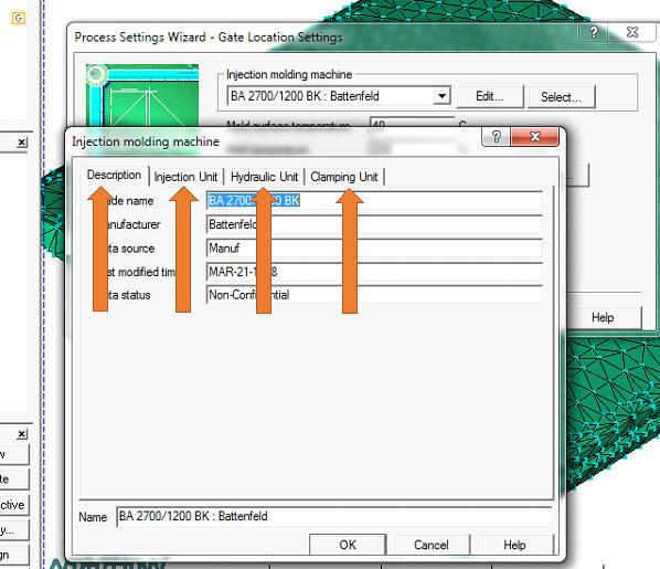آموزش نرم افزار Mold Flow - تنظیمات ماشین تزریق